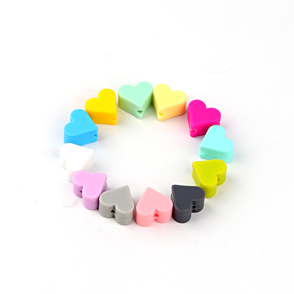 TYRY.HU 20pcs/lot Heart Silicone Beads Silicone Teething Beads For DIY Pacifier Chain Baby Teether