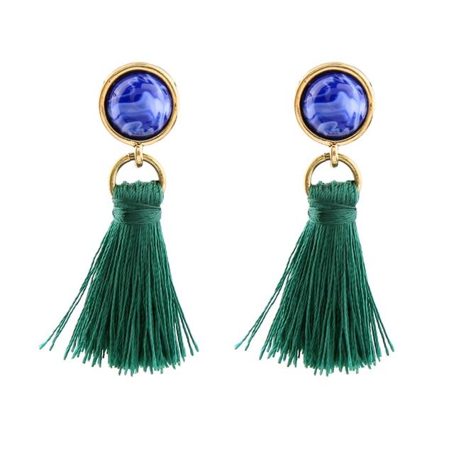 2 colors Orange Blue Round Stone Jewelry earrings drop earring black Green  fashion tassel earrings for
