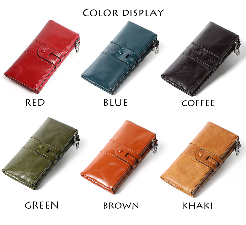 genuine Leather Women Purses Long Zipper Ladies wallet (5)