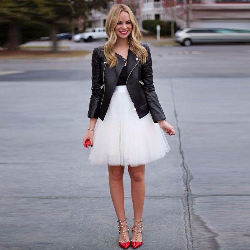 Short Tulle Skirt Ribbons Waist A Line Knee Length Skirt White Tutu Skirts Women Spring Summer Style