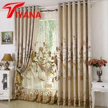 Textiles Para El hogar de Flores Loro Bordado Europa 3D de Lujo Cortinas de Tela Cortinas Transparentes Para Las Ventanas del Dormitorio sala de estar WP257Z20
