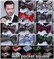 Ftoral 100% de seda tecido Jacquard Men borboleta auto gravata borboleta gravata borboleta bolso praça lenço Hanky terno Set # B5