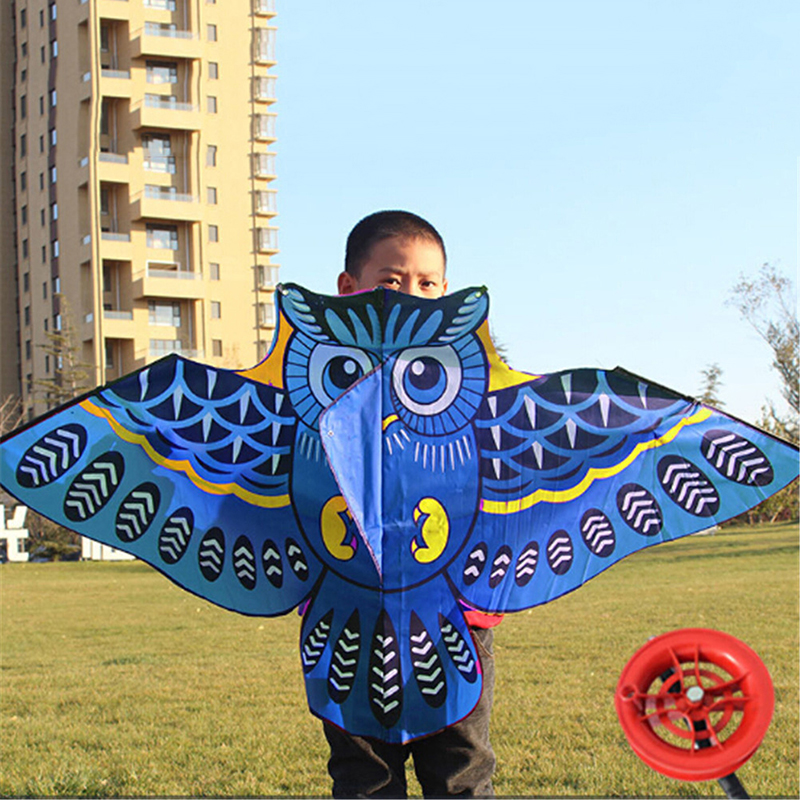 110cm Flying Kite Colorful Cartoon Owl With Kite Line Kids Outdoor Toy