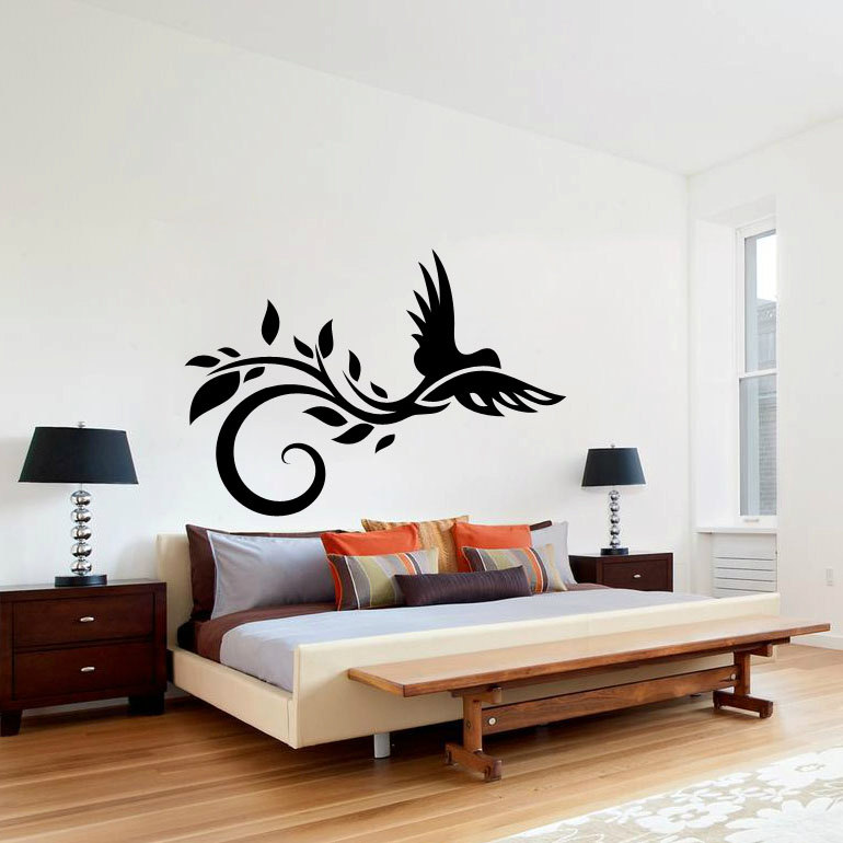 Graceful Animal Wall Decal Bird Flower Leaves Art Mural Stickers For Living Room Bedroom Interior Swirl DIY Home Decor PVCSYY547
