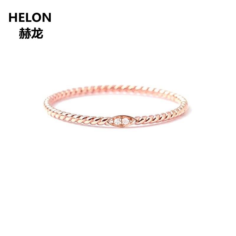 Solide 14k or Rose femmes diamants naturels bague de fiançailles anniversaire mariage bande Fine bijoux corde modèle