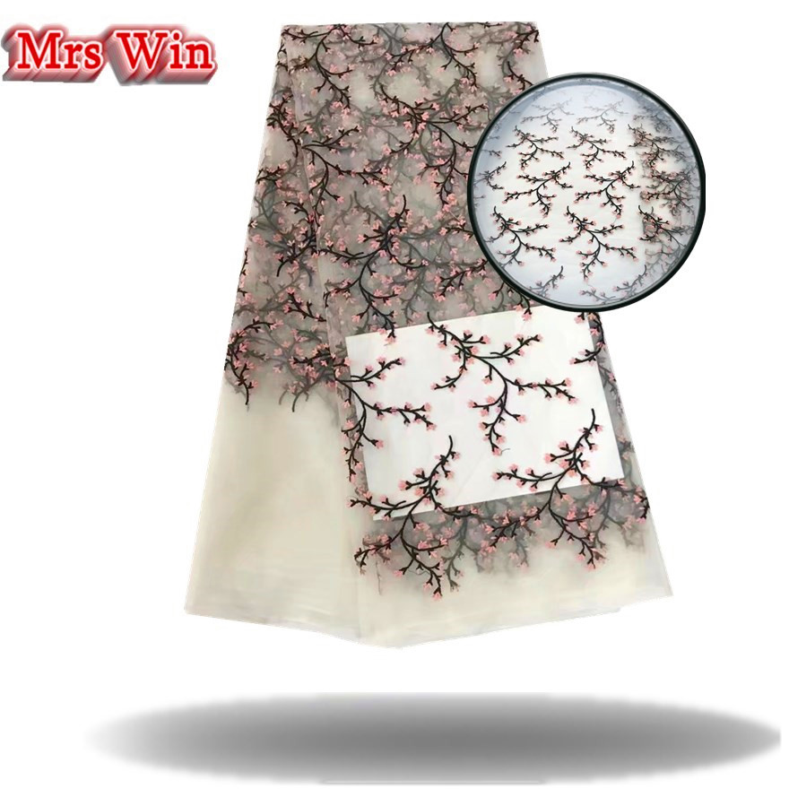 Hot Sale white and black Embroidered African Lace Fabric High Quality French Net Lace Guipure Lace Fabrics for bridal dress