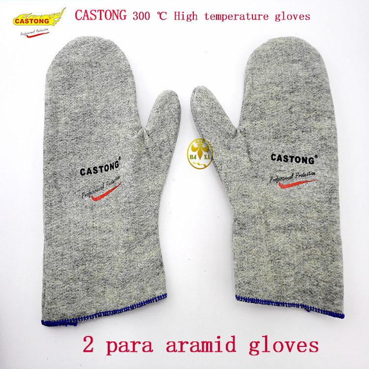 CASTONG aramid protection, high temperature resistant gloves GKHH12-28 celadon gloves300 degree CE safety glove high quality hand tool gloves 12 pairs 700g cotton gloves wear resistant work thick gloves against high low temperature gloves