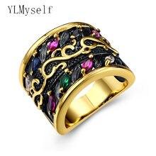 Новинка модное кольцо на палец золотого цвета с разноцветными
