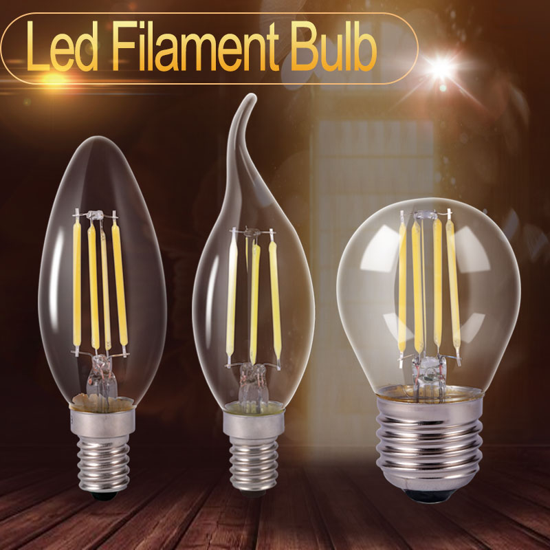 glass led filament bulb home lighting ampoule c35 led e14 candle energy saving lamp light. Black Bedroom Furniture Sets. Home Design Ideas