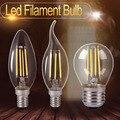 Vidro Ampola Led C35 E14 Vela Levou Filamento da Lâmpada de Iluminação Para Casa de Energia Lâmpada de poupança de Luz Bombilla G45 E27 COB 220 v 2 W 4 W 6 W 8 W