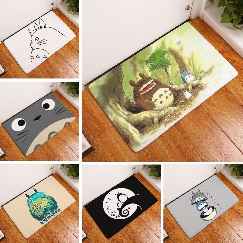 Bath Mat Cartoon Totoro Printed Carpet Toilet Rug Bath Mat Absorbent Bathroom Mat Home Decor Kitchen Floor Mat
