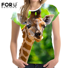 FORUDESIGNS T-shirt Women Funny t shirt Cute Three Giraffe Alien t-shirt Stupid Animal tshirt feminina Femmes Tops Trend