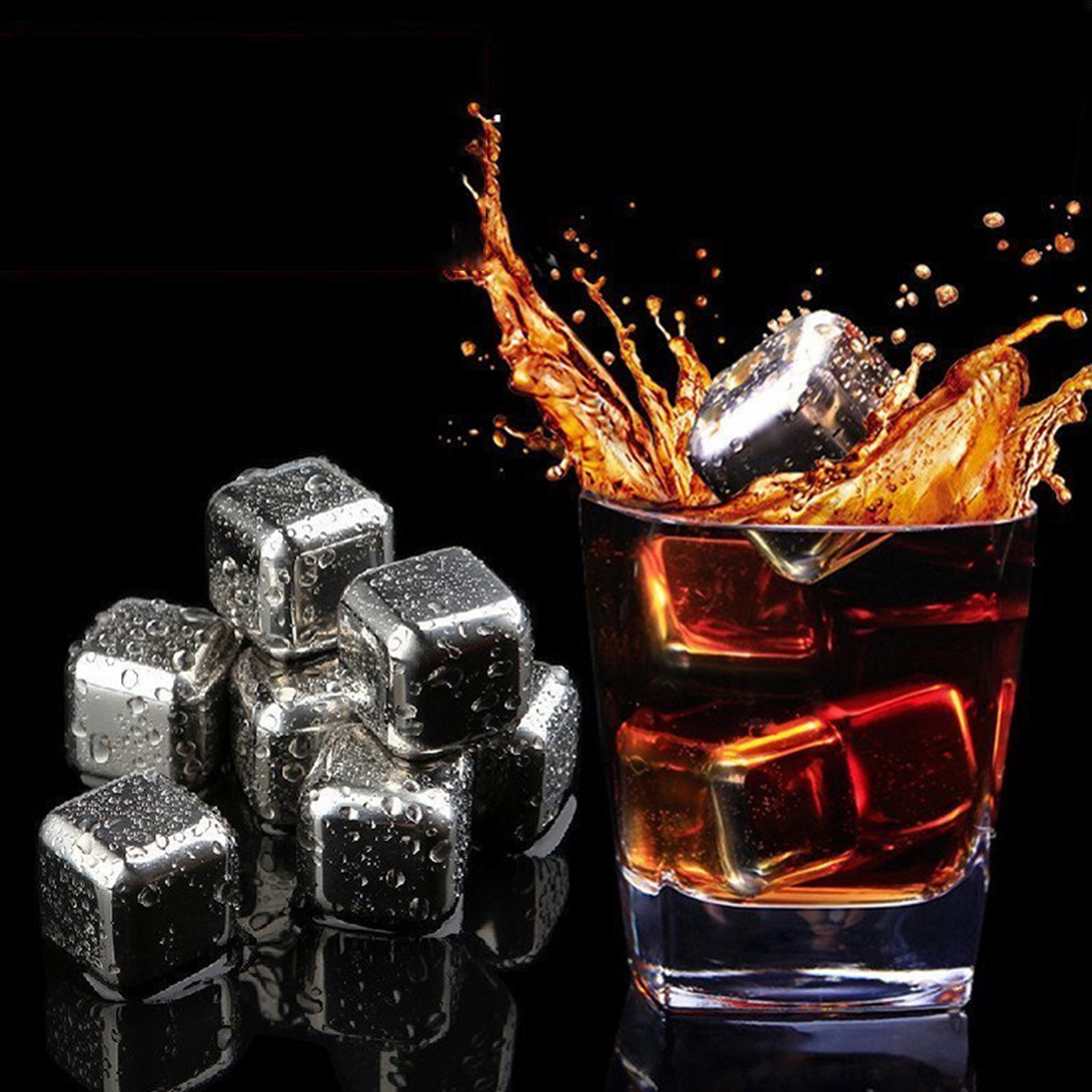 Stainless Steel Stones 6pcs Reusable Ice Cooling Cubes for Whiskey Wine Drinks