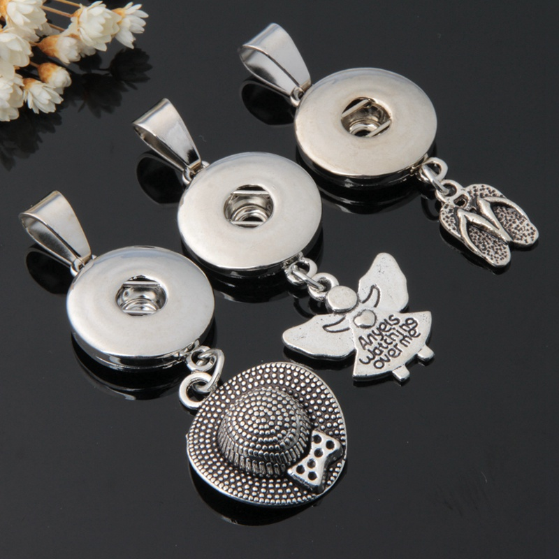 Wholesale Snap Button Jewelry Metal Diy 18mm Snap Button Hat Girls Shoes Pendant Charms for Women Snap Necklace Jewelry