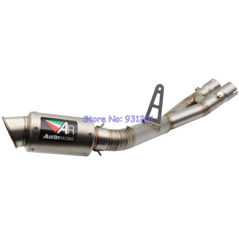 For Yamaha MT10 MT-10 FZ10 FZ-10 Exhaust System Motorcycle Slip On Link Middle Pipe with AR Austin Racing Exhaust Muffler PipeFor Yamaha MT10 MT-10 FZ10 FZ-10 Exhaust System Motorcycle Slip On Link Middle Pipe with AR Austin Racing Exhaust Muffler Pipe