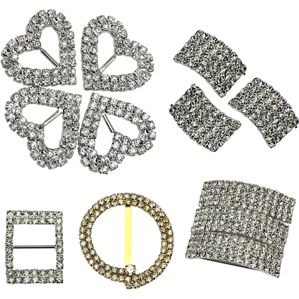 10Pcs Crystal Rhinestones Buckles For Wedding Invitation Card Ribbon ...