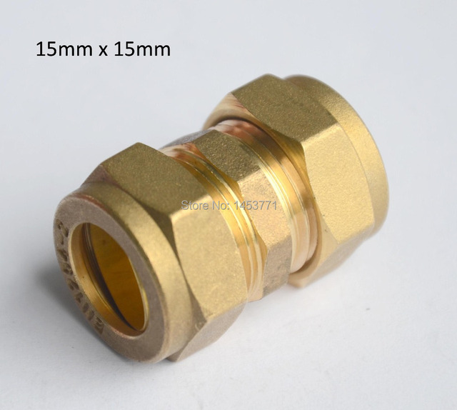15mm equal coupler hexnut brass compression fittings for Copper water pipe fittings types