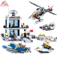 Sermoido Toys Minecraft Police Station Building Blocks Helicopter Boat Model Bricks Set Compatible With Lego City
