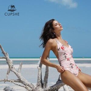 Image 3 - CUPSHE 2020 розовый цветочный принт цельный купальник женский Глубокий v образный вырез сексуальное бикини Монокини 2020 пляжный купальный костюм для девочек Купальник