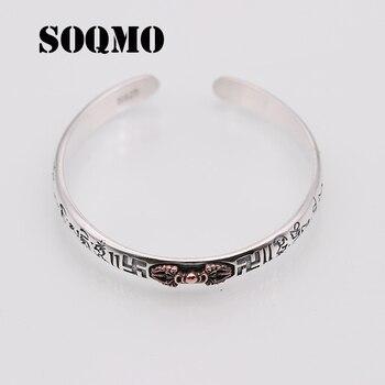 017cfa243cf7 SOQMO 925 esterlina tailandesa de plata brazalete de la joyería de los  hombres Buda Mantra instrumentos pulsera brazalete regalo de las mujeres  joyería fina ...