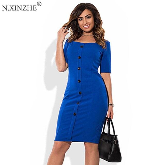 55f6406991 Modne Dorywczo Kobiet Plus Size Sukienka Jesień Lato Style Solidna  Podkolanówki Sukienki Duże Rozmiary Luźne Niebieskiej