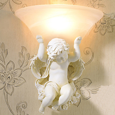 European Style Cupid Angel Wall Lights For Home Handpainted Resin Lamp LED Wall Sconce Indoor Lighting Lampara Pared