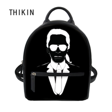 THIKIN Causal Black PU Backpack Women Karl Lagerfelds Print Small Shoulder Bags for Girls Female School Bookbag Daypack 2019