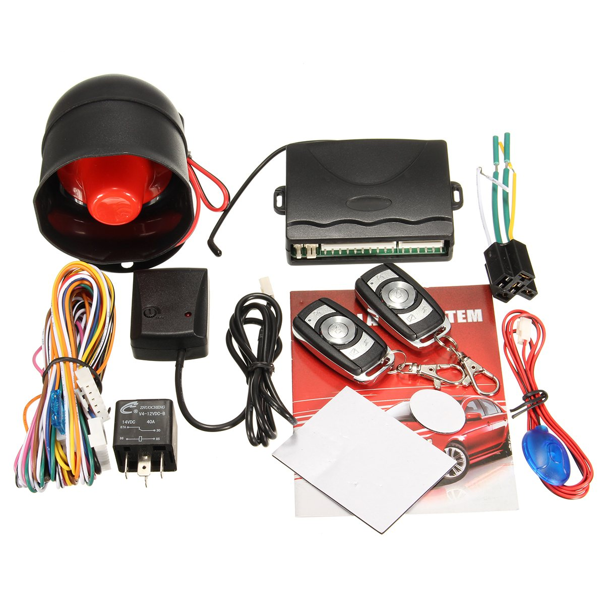 NEW Universal One Way Car Vehicle Alarm Protection Security System Keyless Entry Siren +2 Remote Burglar