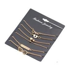 6Pcs/Set Alloy New summer Bijoux Fashion Vintage Anklet Infinity 8 Bracelets For Women Ankle Bracelet Set Gift Jewelry