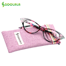 3fe83783bb SOOLALA Cat Eye Reading Glasses Women Crystal Eyeglasses Frame Diopter  Ladies Presbyopic Glasses +1.0 1.25 1.5 1.75 to 3.5