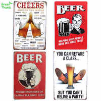 1pc 20x30cm Tin Signs Plaque Beer Wine Vintage Metal Plate Bar Pub Home Wall Green Thumb Retro Mural Poster Home Decorations