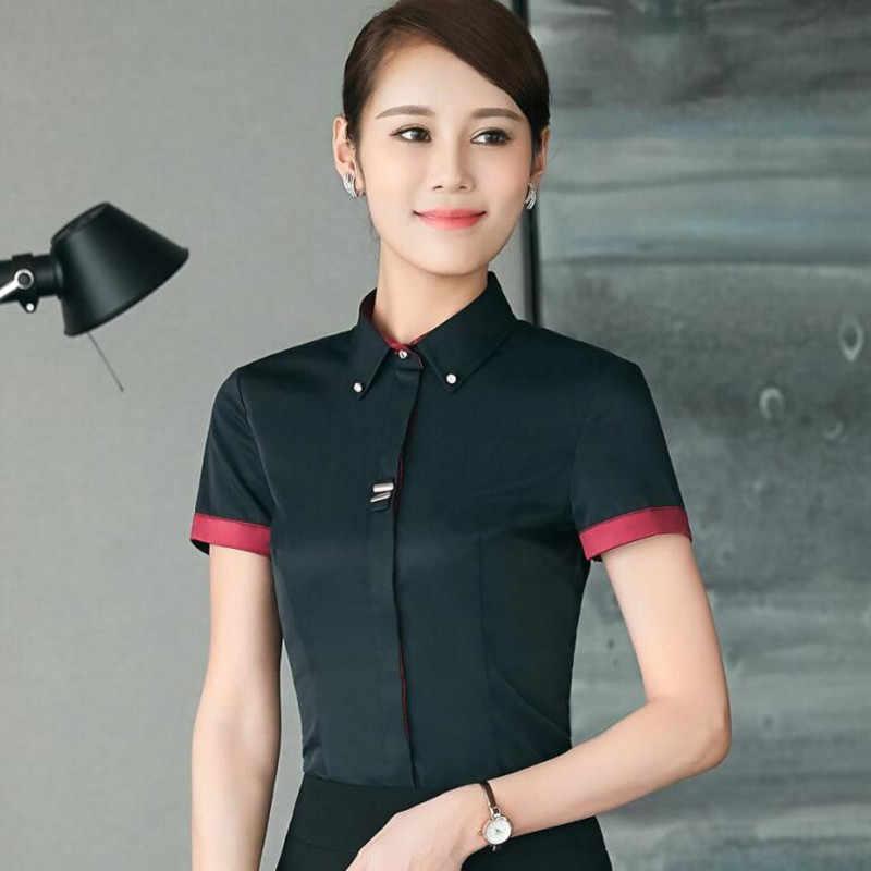 ファッション服ol女性長袖シャツ黒、白スリムパッチワークスパンコール綿ブラウスオフィスレディースプラスサイズフォーマルなトップス