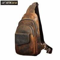Men Original Crazy horse Leather Casual Fashion Crossbody Chest Sling Bag Design Travel One Shoulder Bag Daypack Male 8013d