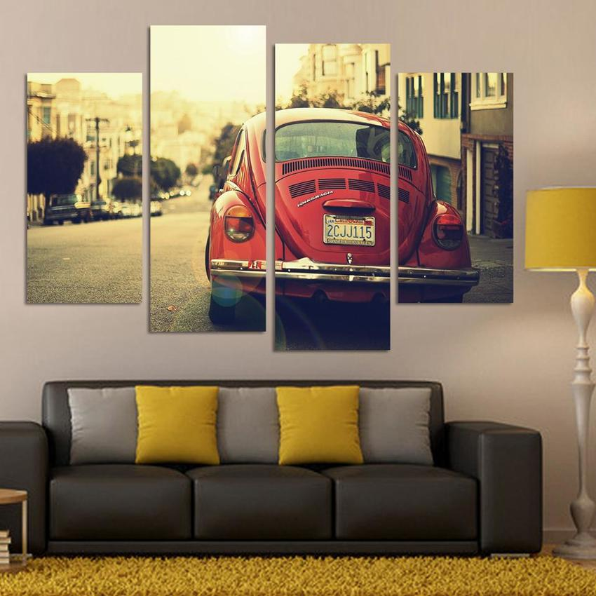 4 Panel classic Wall Art Picture Cool Orange Reflective Sports Car Large HD Canvas Print Painting For Living Room Decor