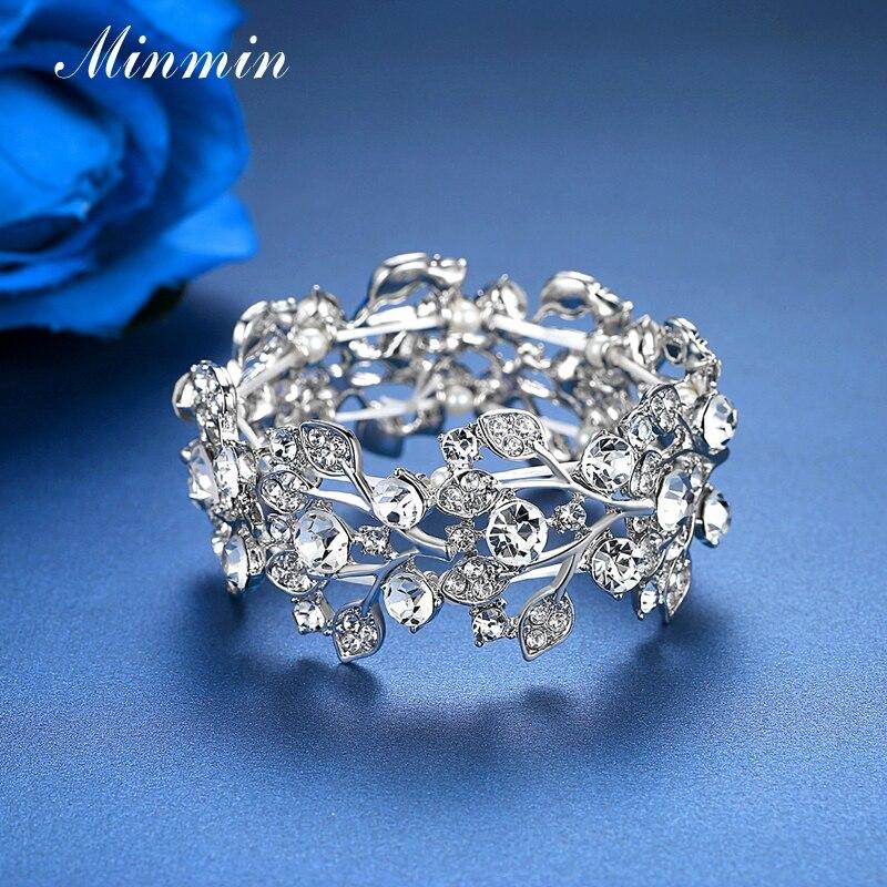 Minmin Crystal Leaf Silver Färg Bridal Armband för kvinnor - Märkessmycken - Foto 5