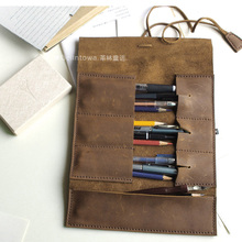 new special large capacity foldable genuine leather pen pencil bag for 10 pens fountain pen with leather bandage stationery 1133
