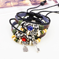 Bague Gothique Leather Bracelet Charm Indian Jewlery Men SteamPunk Bracelet Armband 2016 Pulseras Hombre Armbanden voor vrouwen