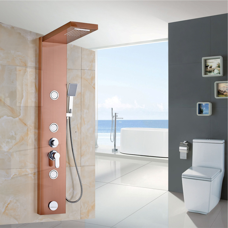 New Arrival Shower Column Rose Golden Wall Mounted Shower Panel with ...