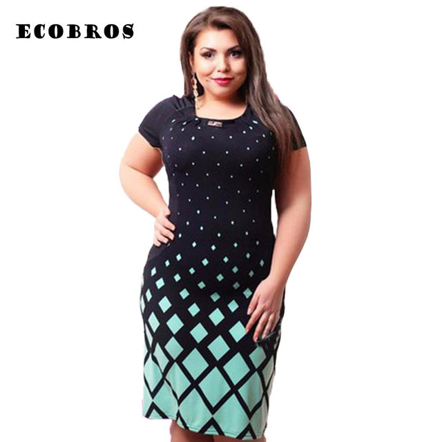 7e67fdb506925 ECOBROS Big size 6XL Fat MM Woman Summer Dress fashion Loose short sleeve  printing knee dresses