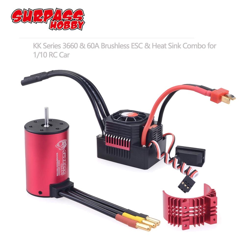 SURPASSHOBBY KK Waterproof Combo 3660 5.0mm 1750KV 2200KV 2600KV 3100KV 3500KV Brushless Motor w/Heat Sink 60A ESC for RC Car-in Parts & Accessories from Toys & Hobbies