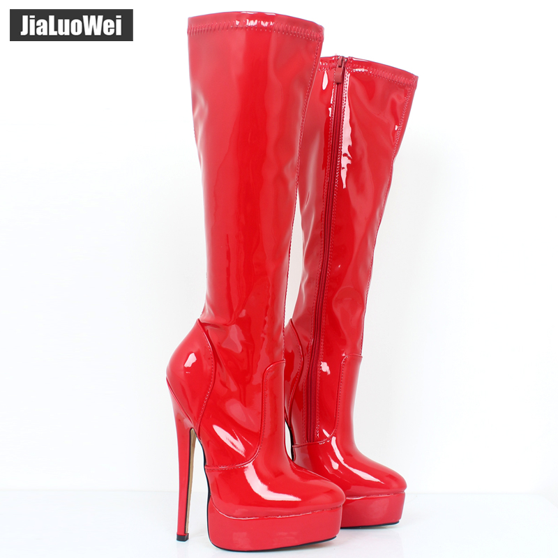jialuowei 2018 Women Boots patent leather Sexy Fetish 18cm High Heels Woman Platform Pointed Toe Zip Knee-High Dancing Boots jialuowei women sexy fashion shoes lace up knee high thin high heel platform thigh high boots pointed stiletto zip leather boots