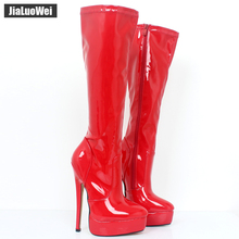 Customized Women Boots Autumn Winter Shoes Woman Pointed Toe Platform High Heel Knee-High Long Boots Plus Size Free shipping