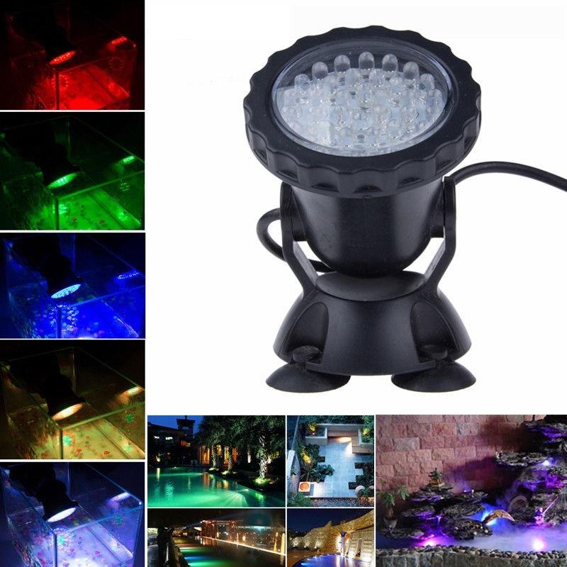 Waterproof IP68 RGB 36 LED Underwater Spot Light Swimming Pool Fountain Water Garden Pond Aquarium Fish Tank LED Spotlight Lamp