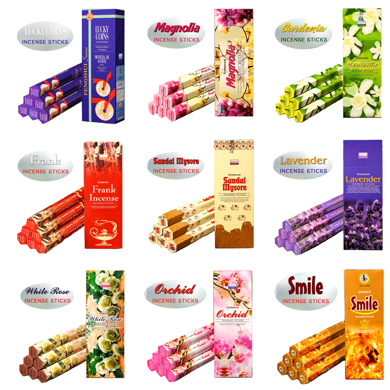 1/2/3 Small Boxes Authentic Sandalwood Lavender Jasmine Incense Sticks India Imported Pu ...