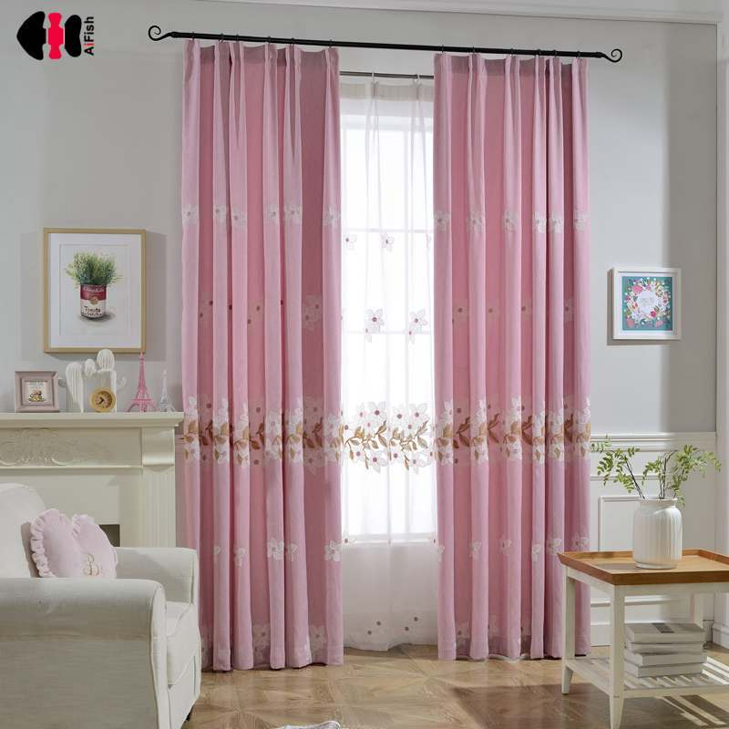 Buy Exclusive Pink Peach Blossoms Embroidery Blackout Curtains For Bedroom