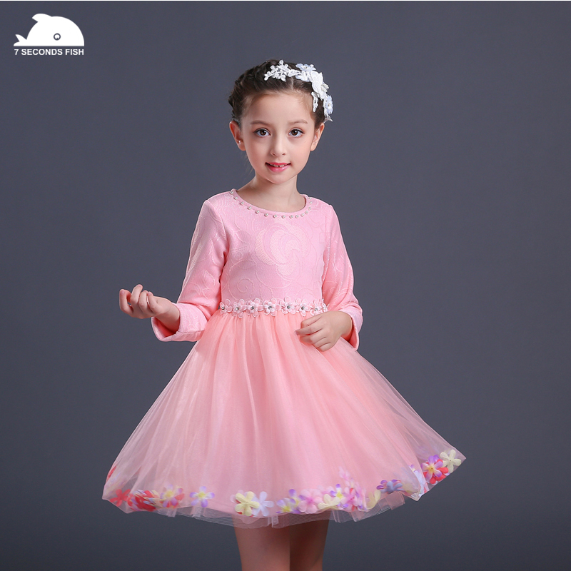 girl party dress princess dress girl 3-12 years 2018 autumn pink white baby wedding dresses lace fashion vestidos long sleeve