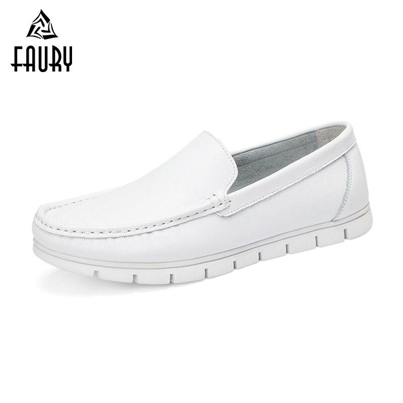 Wholesale Men Flats Leather Shoes Breathable Casual Shoes Hospital Doctors Nurse Work Single Shoes White Black