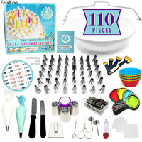 110PC/Set Cake Decorating Tools Kit Icing Piping Nozzles Turntable Pastry Bags Pastry Nozzle For Cream Baking Tools For Cupcakes