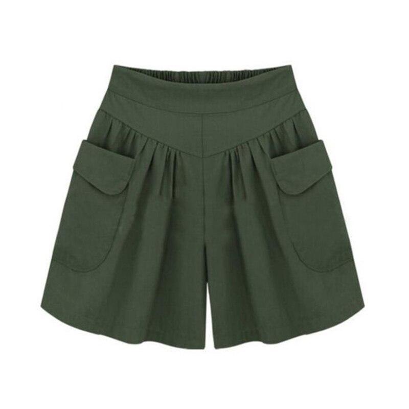 CUHAKCI Summer Shorts Women Plus Size Shorts Pocket High Waist Wide Leg Shorts Female Black Loose Casual Plus Size Shorts 5XL