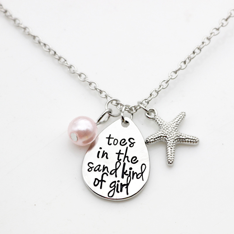 10PC Lettering Pendant toes in the sand kind of girl Charm Necklace Jewelry For Girl Gift Jewelry